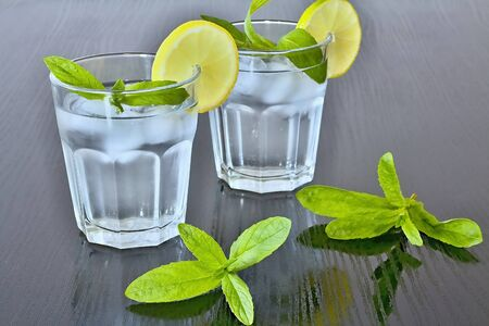 Clean water in a glass of ice cubes, lemon and fresh mint.