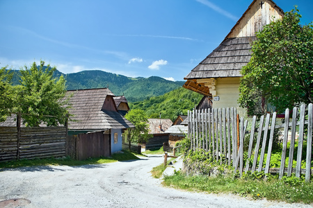 ruzomberok: Vlkolinec - mountain village with a folk architecture typical of the Central European type.