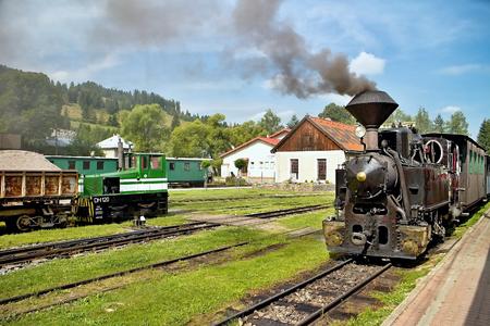 Locomotive on the train station in Cierny Balog. Ciernohronska railway. Steam old train. Steam locomotive