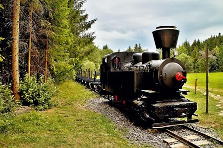 Ciernohronska Railway in village Cierny Balog, Slovakia. Locomotive on the train station in Cierny Balog.
