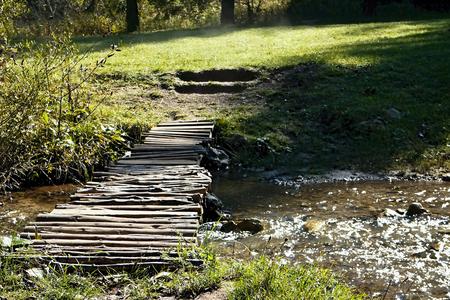 ruzomberok: Ruzomberok - Cutkovska valley - walk through the valley with a small bridge over a mountain river in Cutkovska valley. Stock Photo