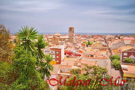 A georgeous view from the outlook over Malgrat de Mar, Spain. Stock Photo