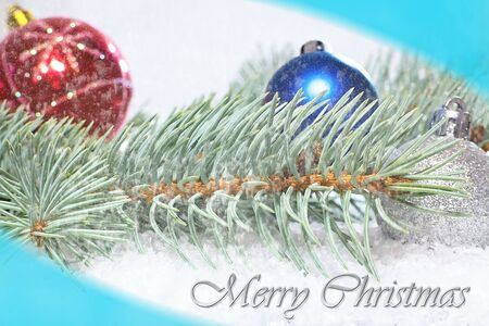 Christmas greeting. Christmas card. Branch of White Pine with Christmas Balls. Christmas time. Reklamní fotografie