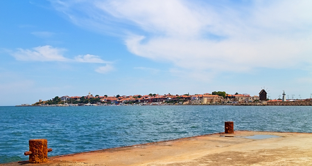 View from the pier in the Black Sea to the Old Town of Nessebar.