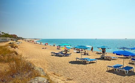 Beautiful sandy beach in Malgrat de Mar near the Black Sea.