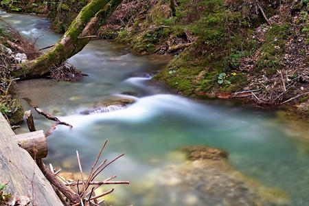 Water in the mountain stream in the Gader Valley in the Great Fatra. Imagens