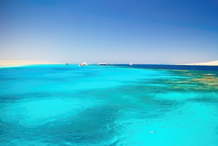 Snorkeling area near Giftun Island in the Red sea. Egypt - Hurghada attractive trips to the Red Sea.