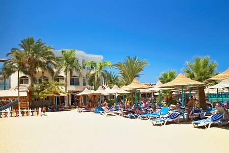 Bella Vista beach resort prepared for the first sunny visitors. Egyptian holiday.