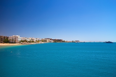 Scenery of holiday destination in Egyptian Hurghada with red sea. Attractive holiday in Egypt. Imagens