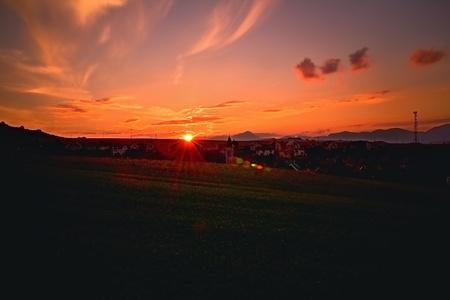 Sunset over Slovak Liptov with the background of Liptovska Mara and Choc mountains. Imagens