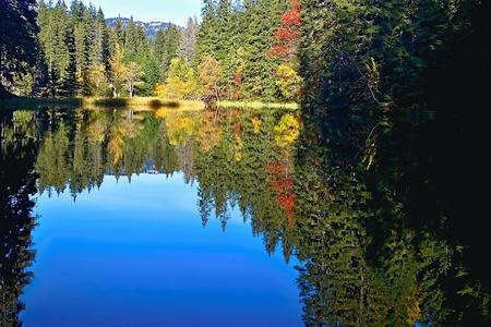 Mirroring on the water level of the Vrbicke tarn in Demanovska valley in Slovakia. Imagens