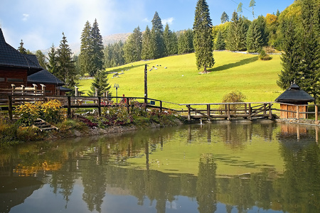 Ruzomberok - Cutkovska Valley: Enchanting the entrance to Cutkovska valley. Tourist center, original traditions, relaxation place and small pond