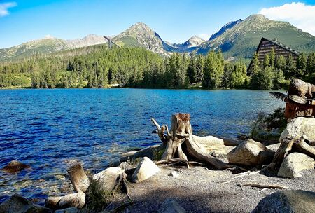 Background of Strbske Pleso lake from the other side of the lake. Beautiful Slovakia. Imagens - 132065756