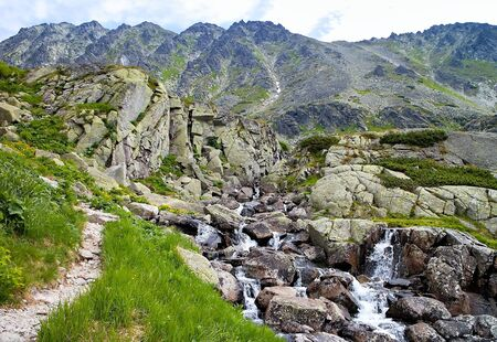 Landscape around the Skok waterfall in the High Tatras in Slovakia.