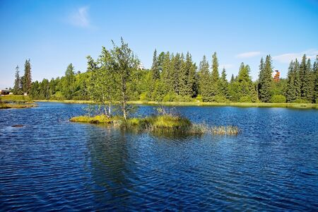 New Strbske lake - attractive destination in the High Tatras in Slovakia.