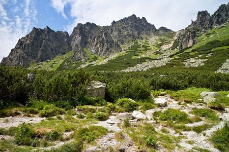 Interesting rocky scenery as you climb the hiking trail to the Skok waterfall in the High Tatras. Beautiful Slovakia.