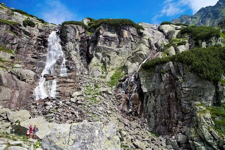 Waterfall Skok in all its glory. The best waterfall in the High Tatras. Beuatiful Slovakia. Imagens - 132947963