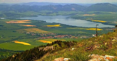 View of Liptovska Mara from the top of Zadna Poludnica. Beautiful Slovakia. Imagens