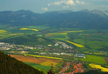 The village Zavazna Poruba and part of the town Liptovsky Mikulas viewed from the top of Poludnica mountain. Amazing Slovakia. Imagens