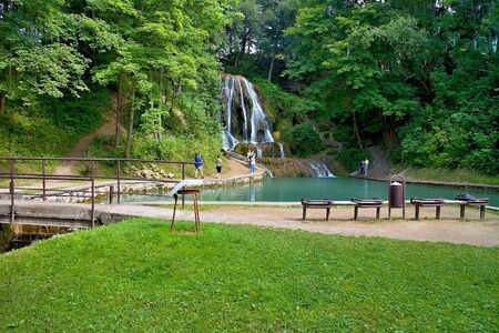A popular waterfall in Liptov located in the village Lucky - waterfall Lucky. Beautiful Slovakia.