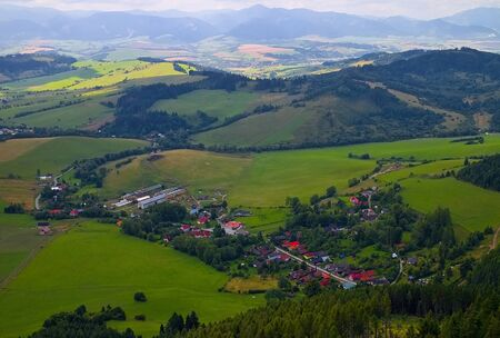 Liptov village Liptovska Anna from the viewpoint of the famous mountain peak Cerenova rock. Beautiful Slovakia.
