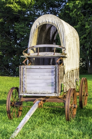 pioneers: A front view of a stagecoach that was from the 1800s. Stock Photo