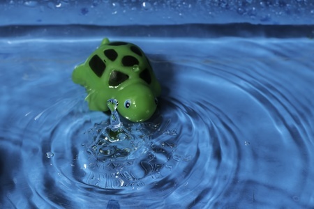 A close shot of a water splash with a green rubber turtle. photo