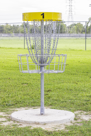 A shot of the first hole of a disc golf course. Stock Photo - 22796995