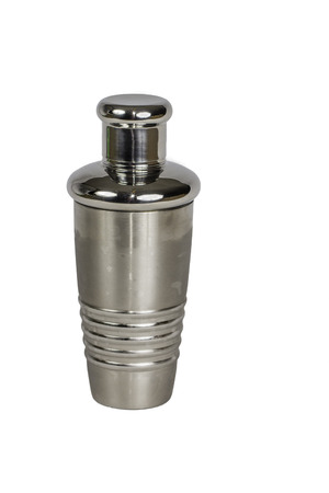 martini shaker: A stainless steel martini shaker isolated on a white.