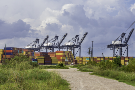 unloading: A port used for unloading and storing shipping containers.