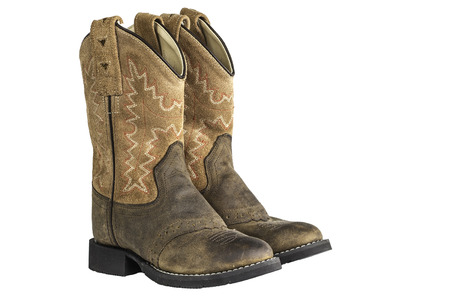 A pair of brown cowboy boots isloated on a white . Stock Photo