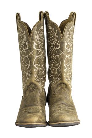 botas vaqueras: Un par de se�oras marrones Coyboy botas occidentales aislado en un blanco. Foto de archivo