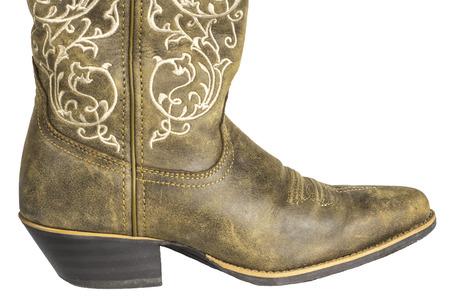 Ein Paar Braune Damen Coyboy Westlichen Stiefel Auf Einem