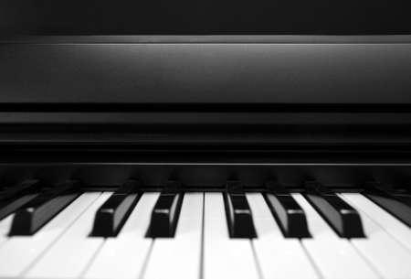 Close crop of piano keys shot head on