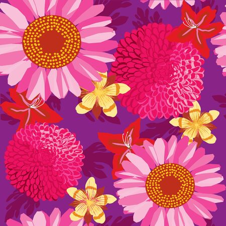 floral garden, wrapping, seamless pattern, purple background Stock Vector - 14192039