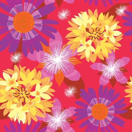 floral garden, wrapping, seamless pattern, purple background Stock Vector - 14192041