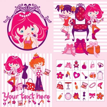 las niñas de color rosa de dibujos animados, el maquillaje y las joyas, la ilustración Ilustración de vector