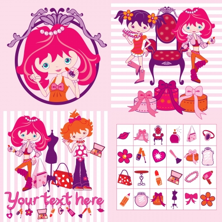 accessory: pink cartoon girls, makeup and jewelry, illustration