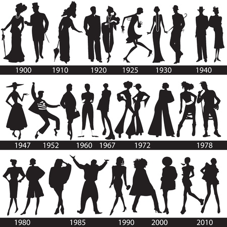 Fashion history, man and woman silhouettes Illustration