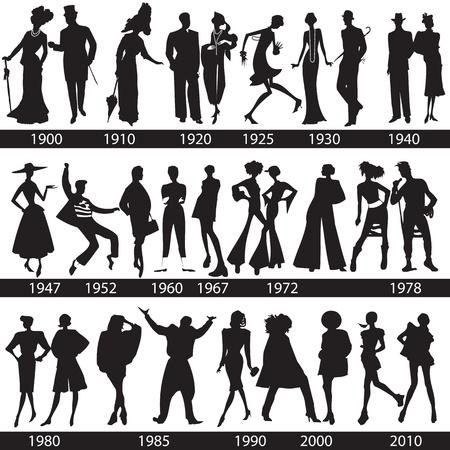 Modegeschiedenis, man en vrouw silhouetten