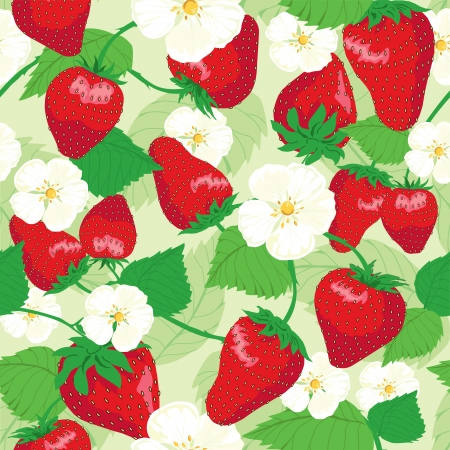 strawberry plant: strawberries and flowers,  wrapping, seamless pattern, leaf background