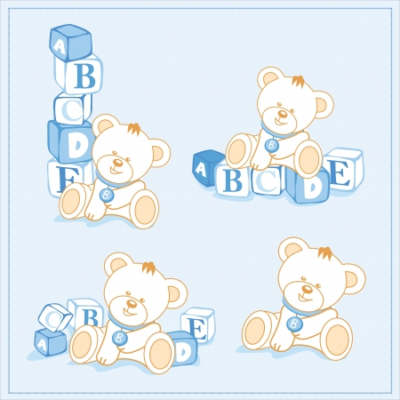 tower block: white teddy bear with building blocks, a separate sample Illustration