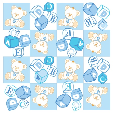Seamless, Teddy bear checked pattern, building blocks Vector