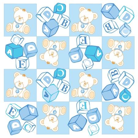 Seamless, Teddy bear checked pattern, building blocks Stock Vector - 14192043
