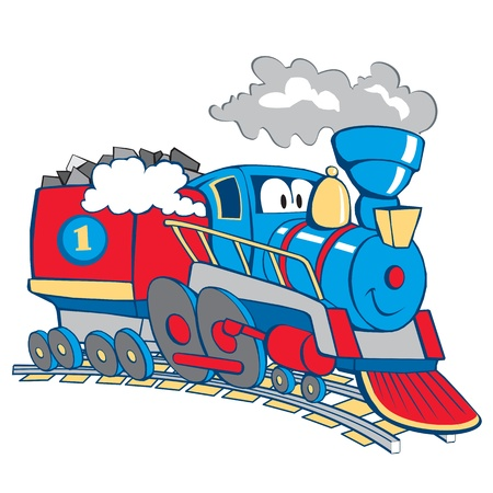 steam iron: cartoon train isolated on the white background
