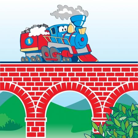 colorful cartoon train on the bridge Vector
