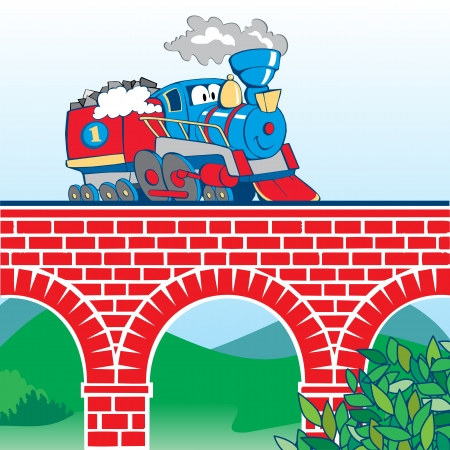 train cartoon: colorful cartoon train on the bridge