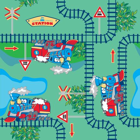 railroad station: seamless, colorful cartoon trains in the countryside