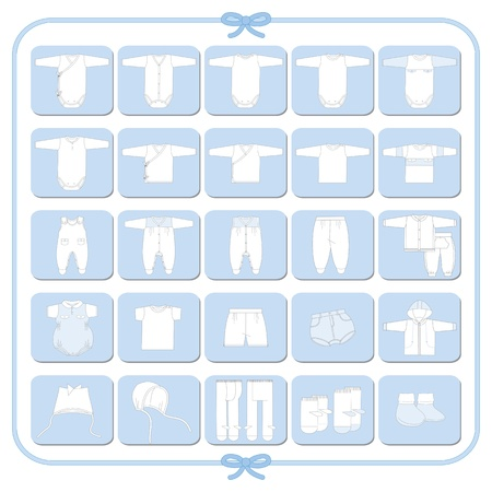 Pictograms of white babyboy dresses