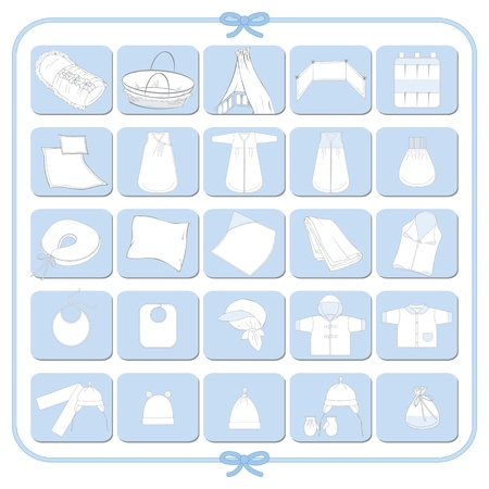 baby clothes: Pictograms of white babyboy dresses
